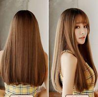 100% Human Hair!Natural Long Straight Light Brown Women's Wigs Real Hair Wig