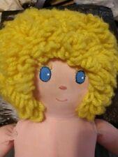"Vtg Handmade Cloth Doll yellow Yarn Hair 20"" stitched/emb face Arlene Muller"