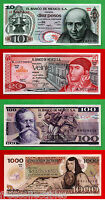 FOUR BEAUTIFUL 1970s & 1980s MEXICO Mexican UNC Notes: 10, 20, 100 & 1,000 Pesos