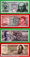RARE Set of 5 1970/80s Mexican Notes 10, 20, 50, 100, & 1000 Pesos, UNCIRCULATED