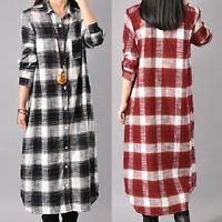 Mode Femme Coton Boutons Vérifier Plaid Manche longue Longue Tops Robe Midi Plus