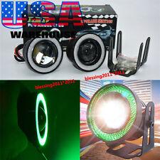 "2X 3.0"" High Power LED Fog Lights Projector With Green COB Halo Angel Eye Rings"