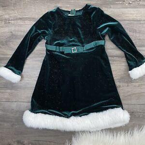 Bonnie Jean 4T Girls Toddler Green Velvet Holiday Christmas Dress