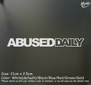 ABUSED DAILY ABUSEDDAILY Reflective Funny Car Trick Sticker Decal Best Gift-