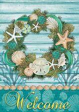 "Coastal Wreath Summer Garden Flag Welcome Nautical Shells 12.5"" x 18"""