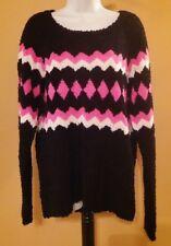 Arizona Black Pink & White Knit Sweater - Juniors Size XL