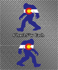 "2x Mirrored Sasquatch Colorado Flag Bigfoot Yeti 4"" vinyl Die Cut Sticker"