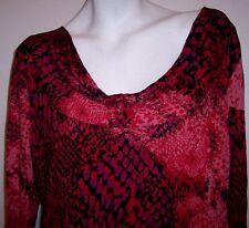 Beverly Drive Top 1X Reptile Stretch Knit Draped Neck Plus Size Shirt Blouse 1X