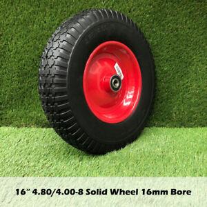 "16"" Solid Tyre Wheel Wheelbarrow 4.80/4.00-8 16mm BORE Wheels Puncture Proof"