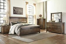 Modern Industrial Style Warm Brown Furniture - 5pcs King Panel Bedroom Set Ia1Q