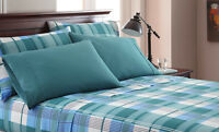 "6-Piece Bed Sheet Set: Gray, Blue Green Plaid, 16"" Pocket,  2 Extra Pillowcases"
