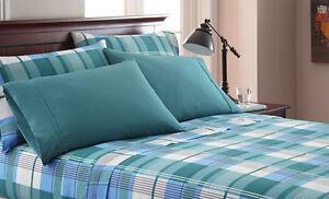 "6-Piece Bed Sheet Set: Gray, Blue Green Plaid, 16"" Pocket,  2 Extra Pillowcases"