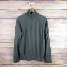 BANANA REPUBLIC Men's 1/4 Zip Pullover Cashmere Blend Sweater L Large Dark Gray