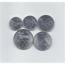 INDONESIA 1994 - 2003 UNCIRCULATED FIVE NICE ALUMINUM FAUNA AND FLORA COINS SET