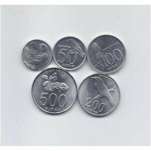 INDONESIA 1993 - 2003 UNCIRCULATED FIVE NICE ALUMINUM FAUNA AND FLORA COINS SET
