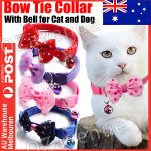 Lovely Elastic Cat Dog Kitten Collar Bow Tie Pet Neck Chain with Bell Cute AU