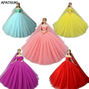"""High Quality Wedding Dress for 11.5"""" Doll Clothes Party Gown Outfits With Veil"""