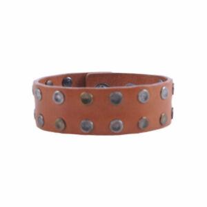 DIESEL Mens Studded Bracelets Genuine Leather Brown Metal Stud Unisex Wristband