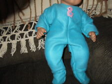 """15""""  hand-crafted bitty baby girl doll turquoise fleece w pink duck applique"""