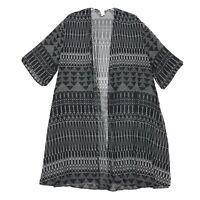 H & M 3/4 Sleeve Duster Kimono Sz L Large Long Side Slits Black Semi Sheer BOHO