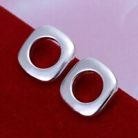 *UK* 925 SILVER PLT LARGE SQUARE WITH HOLLOW CIRCLE STUD EARRINGS CUBE LADIES