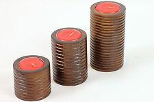 Set of 3 Wooden Ribbed Cylinder Tea light candle holders handmade Mango Wood