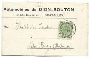 Krantenwikkel De Dion Bouton Brusselse dealer naar Hotel des Indes 1-12-1908