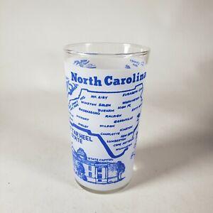 Vintage North Carolina Souvenier Federal Glass Blue