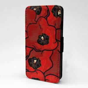 For Mobile Phone Flip Case Cover Poppies Paint Art - S1265