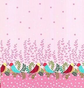 Michael Miller Tweet Love Nest Pink Double Border Fabric by the  1/2 metre