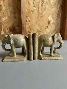 Vintage Elephant Bookends Hand Carved Animal Book Ends Made in India