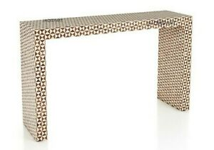 Handmade Antique Bone Inlay Natural Wood in a Mosaic-like Design Console Table
