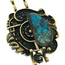 Mayan Warrior Stunning Turquoise Pendant 14K Yellow Gold Mexico Aztec