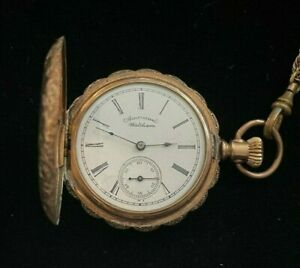 American Waltham Full Hunter Pocket Watch with Chain! Size 6 & 11 Jewels!
