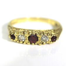 Heavy Natural Ruby & Diamond 18ct Yellow Gold Boat ring O ~ 7 1/4