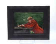VINTAGE HAND-PAINTED PORCELAIN TILE OF A MAN LIGHTING A CLAY PIPE SIGNED M. MAY