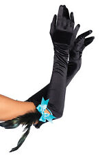 NEW OPERA LONG BLACK GLOVES SATIN BLUE BOW FEATHER LEG AVENUE BURLESQUE EVENING