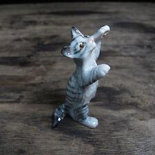 2-Leg Standing Cat Figurine Cat Grey Ceramic Cat Collection Cat Pottery Animals
