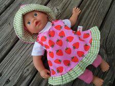 KLEIDUNG Kleiderset für Puppen Gr. 32 little Baby born by kipu Erdbeerchen NEU
