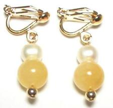 Genuine White Pearl & Yellow Jade 18K YGP Clip On Earrings