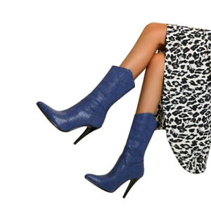 Womens Mid-calf Boots Fashion Snake Pattern High Heel Boot Pointed Toe Shoes Hot