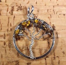 NATURAL TIGER EYE TREE OF LIFE  WIRE WRAPPED PENDANT STONE GEMSTONE