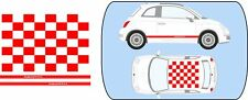 Fiat 500 Red Roof Squares and Abarth Side Stripes stickers graphics decals A739