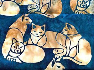 Batik Tan Cats Blue Fabric Tye Dye 100% Cotton Quilting Fabric 1/2 Yard