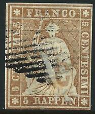 SWITZERLAND - 1854 5 Rp 'YELLOW-BROWN' MUNICH (Green) SG25 GU Cv £170 [A2772]*