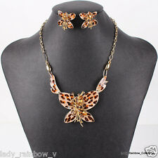 Stylish Butterfly Design Leopard Color Gold Plated Necklace Earring Jewelry Set
