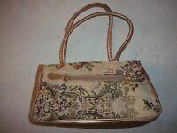 alte Damenhandtasche-Tasche-Handtasche-Gold-Abendtasche um 1950