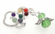 Green Crystal Angel Charm Pendulum Doswer with Chakra Gemstone Chain