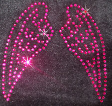 ANGEL FAIRY WING SM HOT PINK iron-on Rhinestone CRYSTAL BEAD diy transfer PATCH