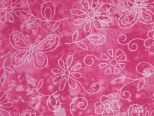 """Pink cotton fabric butterfly floral quilt material fabric Traditions 1 yard 12"""""""